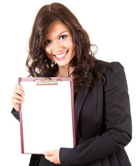smiling young businesswoman with blank clipboard