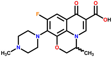 Antibiotic ofloxacin structural formula