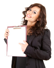 young businesswoman with blank clipboard