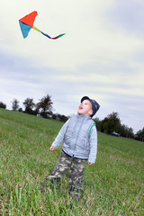 little boy with kite fly on meadow in autumn