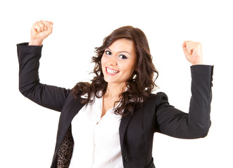 beautiful businesswoman with raised arms