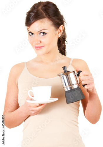 beautiful young woman making coffee, white background