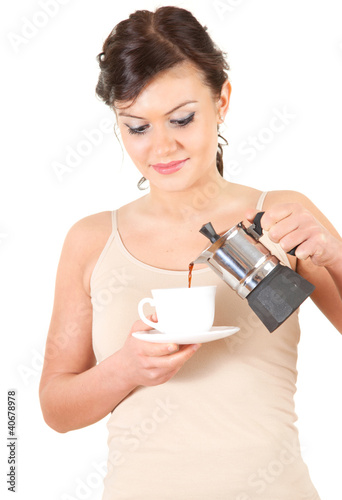 beautiful attractive girl with coffee, white background