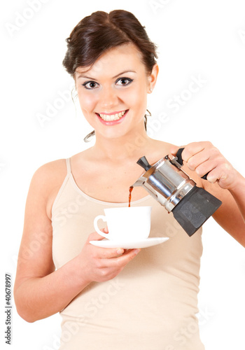 beautiful housewife with coffee, white background