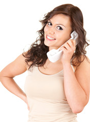 smiling girl speaking on the phone