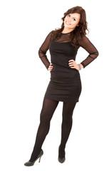 smiling young elegant girl in black dress, full length