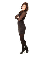young elegant businesswoman in black dress, full length