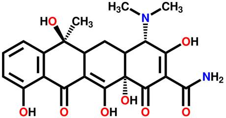 Antibiotic tetracycline structural formula