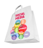 social media and network concept,shopping bag