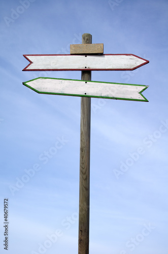 Double directional signs isolated on blue sky