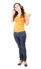 enjoy music teenage girl in headphones, full length