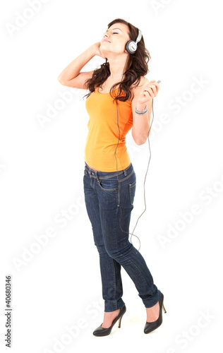 excited music young woman in headphones