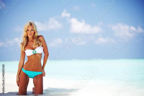 woman in bikini on beach