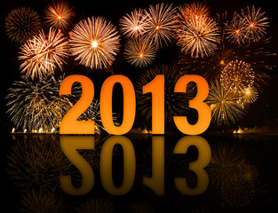 2013 year celebration with fireworks