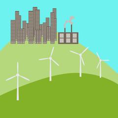Urban landscape with windmills