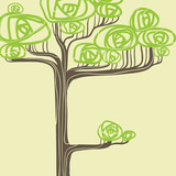 Abstract vector illustration of stylized green tree.