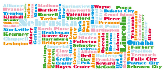 word cloud map of Nebraska state
