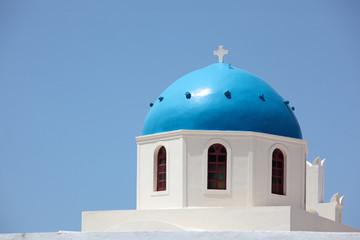 Blue dome of Panagia of Platsani church, Oia, Santorini, Greece.
