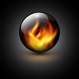Fototapety Sphere with vector flames background