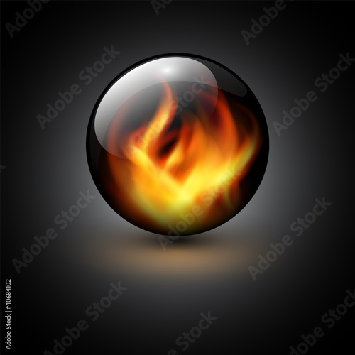 Sphere with vector flames background