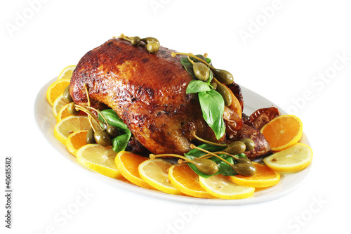 Duck baked in the oven