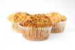 Three gluten free muffins isolated