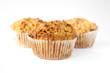 Three gluten free muffins isolated