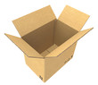 Open Cardboard Box. Isolated.