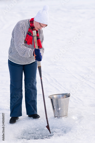Woman and ice pick