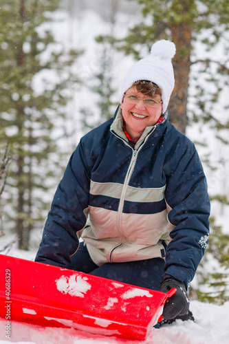 Woman and sled