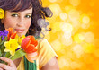 schöne Frau mit Blumenstrauß / it's spring 6