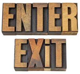 enter and exit words in wood type