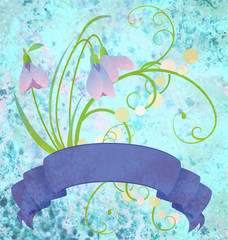 grunge snowdrops blue scroll