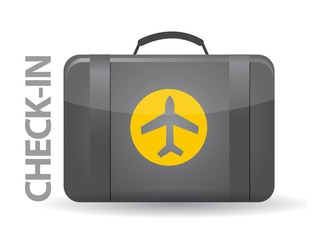Check-in bag illustration design over white background