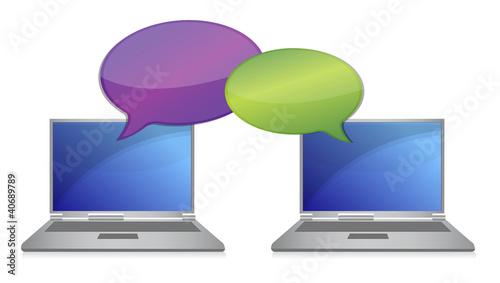 laptop communication Connection concept illustration design