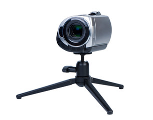 Camcorder on portable tripod.