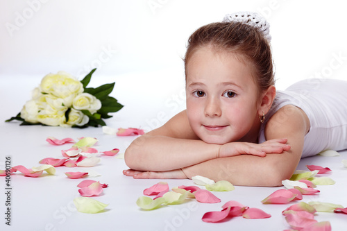 Young ballerina relaxing
