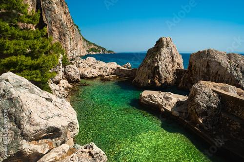 Small harbor at Adriatic sea. Hvar island, Croatia