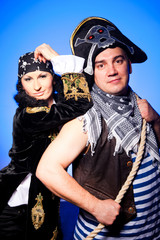 two pirates on blue