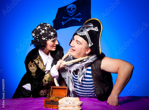 two fighting pirates on blue