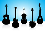String instruments silhouettes on color background. poster