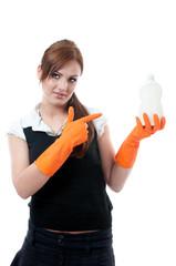 Maid holiding detergent