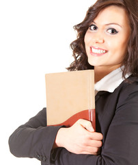 happy young businesswoman with book