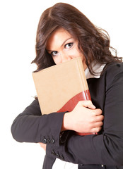 shame young businesswoman with book