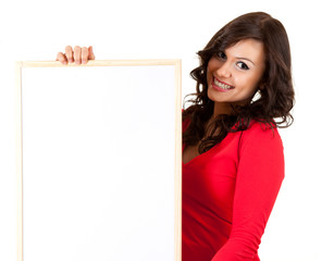 teenage girl keeping blank sign, white background