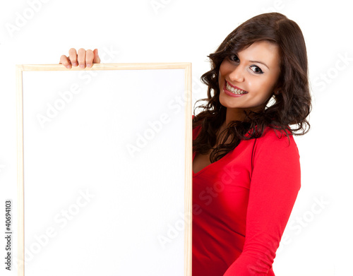 teenage girl keeping blank sign, white background