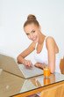 Healthy woman using laptop