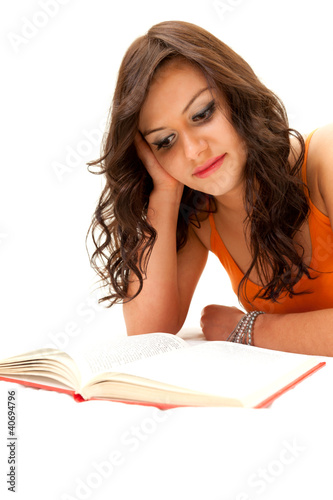 thoughtful student girl reading book , white background