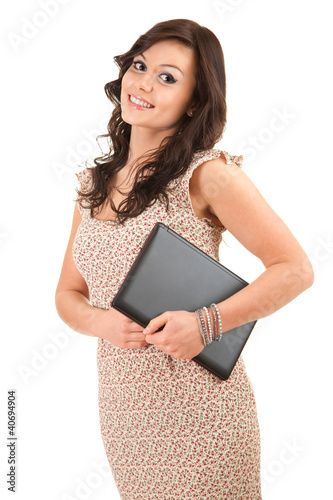 smiling teenage girl with laptop, white background