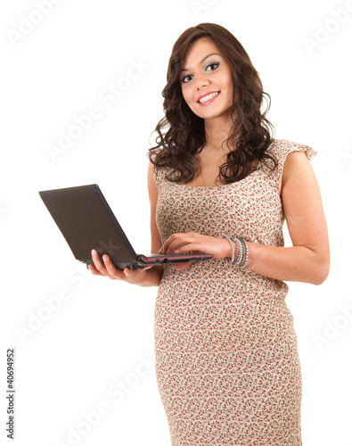 young woman working on laptop, white background